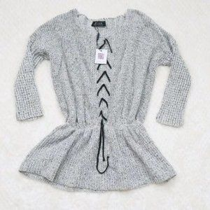 Choies Elastic Waist Knit Long Sleeve Tie Front